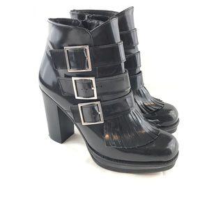 Asos 8 Platform Buckles Fringe Ankle Black Boots